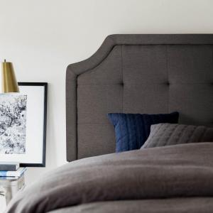 MaloufScooped Square Tufted Upholstered Headboard - Charcoal Color Twin