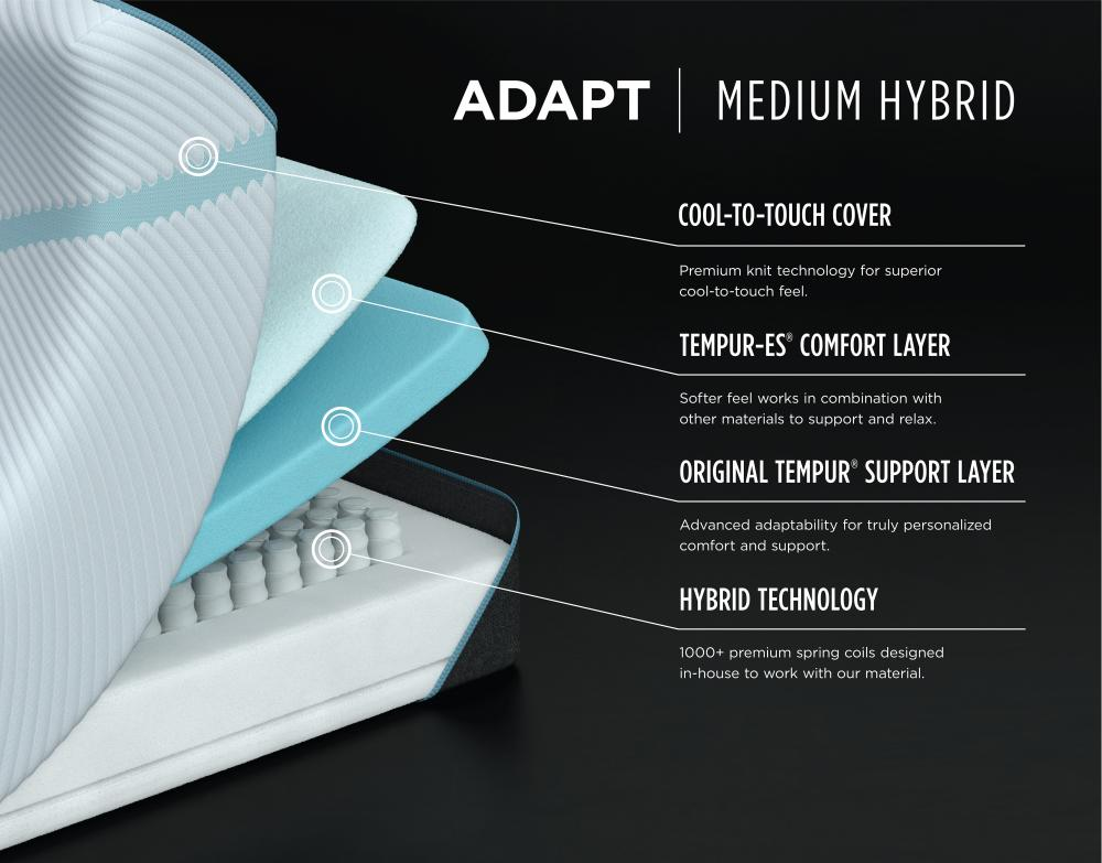 timeless design 9d088 07cd9 10735170 Tempur-Pedic ADAPT Medium Hybrid Mattress King ...