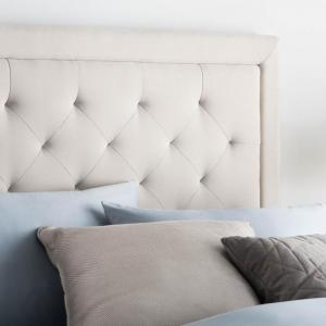 MaloufRectangle Diamond Tufted Upholstered Headboard - Ivory Color Twin
